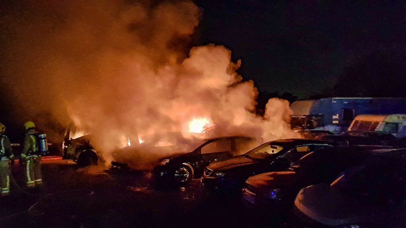 10 vehicles destroyed in fire