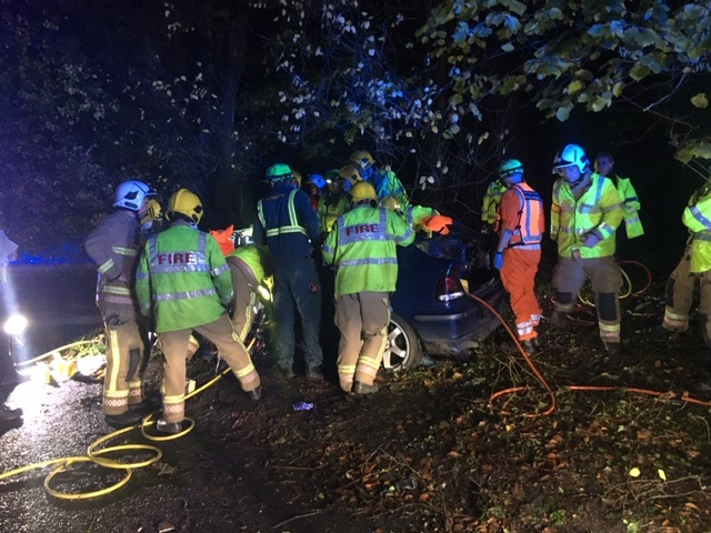 Male rescued following collision with tree