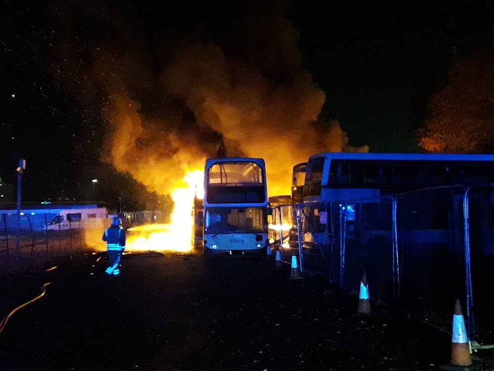 Ten buses deliberately set on fire