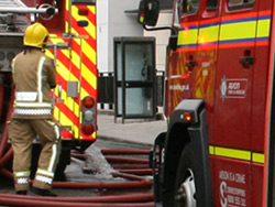 Crews tackling Bedminster garage fire
