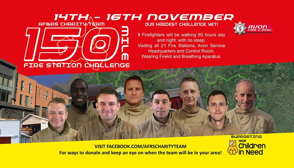 Firefighters to walk 150 miles in 60 hours for charity