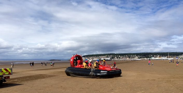 Hovercraft rescues a number of people at Weston-super-Mare