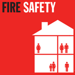 Graphic of a fire safety leaflet depicting a hous with people in it