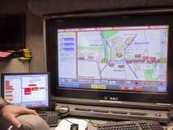 Staff using interactive map during training exercise