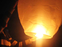 Chinese lantern being launched