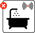 Illustration advising against smoke alarms being fitted in bathrooms