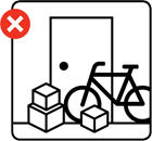 Graphical depiction of a bicycle and boxes blocking an escape route