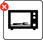 Illustration advising you to not put metal objects in microwaves