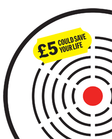 Illustration of smoke alarm with message stating £5 could save your life