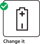 Illustration advising you to change your smoke alarm battery regularly