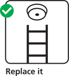 Illustration advising you to replace your smoke alarm at the end of it's life