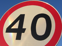 40 miles per hour speed limit sign